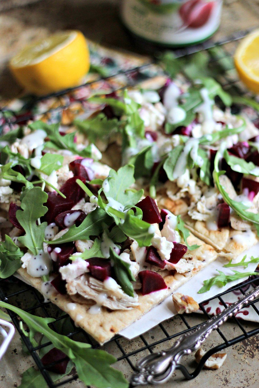 Pickled Beet Flatbread with Lemon Poppy Seed Dressing Recipe | HeyFood — heyfoodapp.com