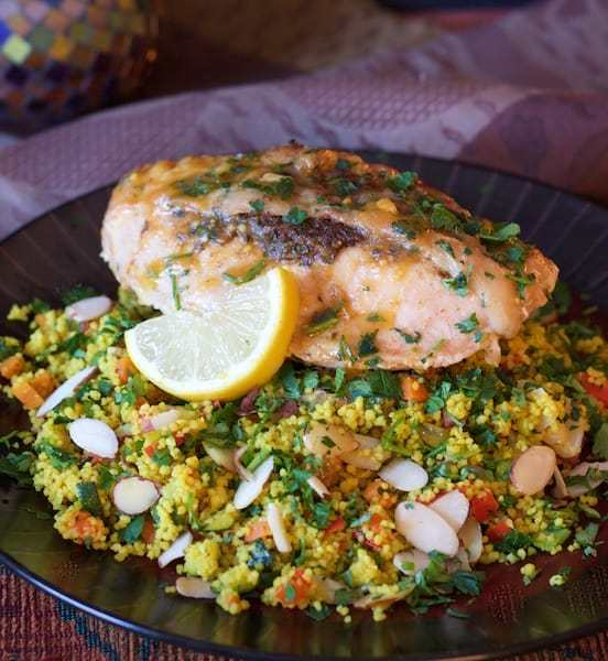 Chicken Marrakech with Jeweled Couscous Recipe | HeyFood — heyfoodapp.com