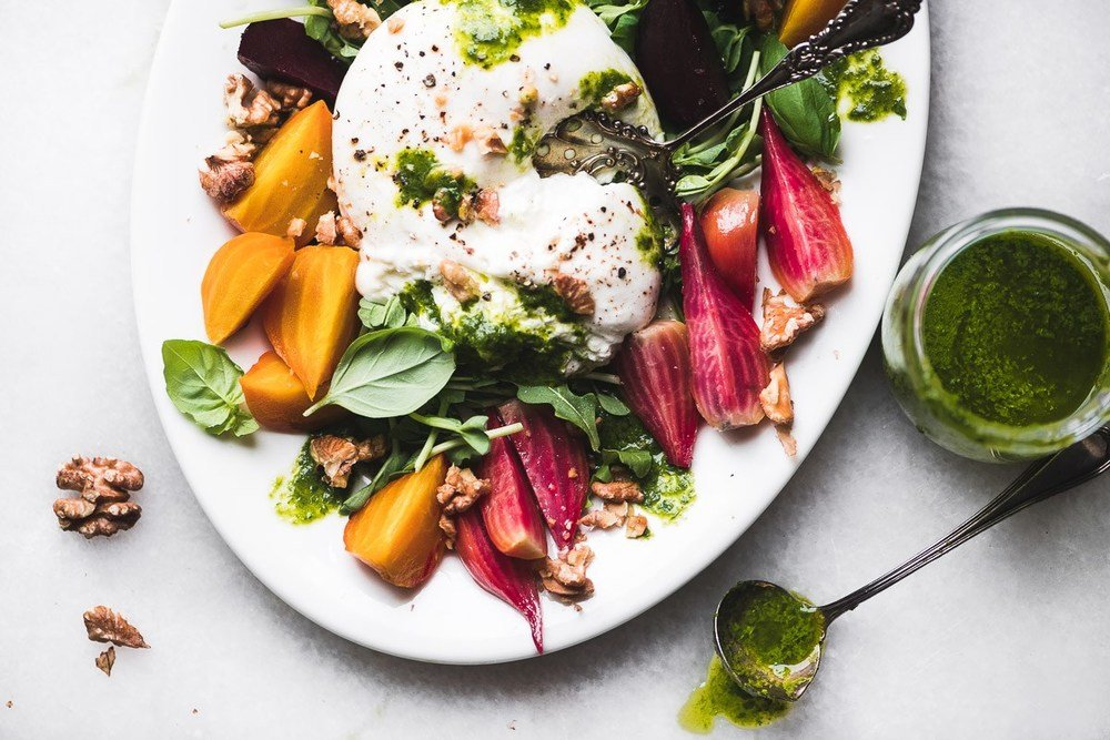 Roasted Rainbow Beet and Burrata Salad Recipe | HeyFood — heyfoodapp.com