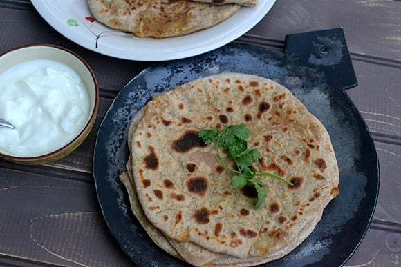 Aloo-Gobhi Paratha (Potato-Cauliflower Stuffed Indian Flatbread) Recipe | HeyFood — heyfoodapp.com