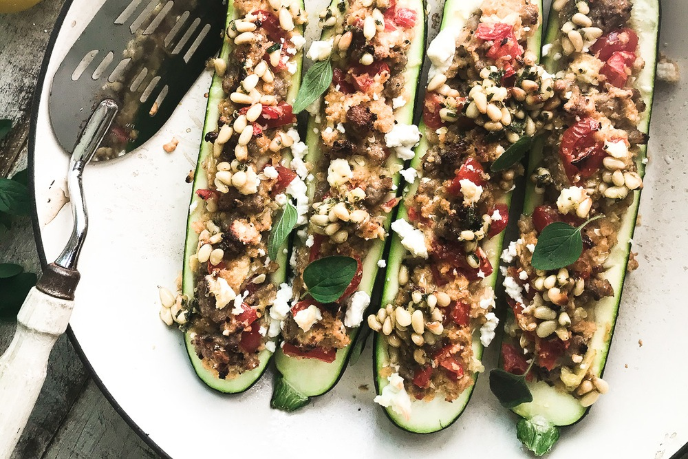 Stuffed Zucchini with Pine Nut Salsa Recipe | HeyFood — heyfoodapp.com