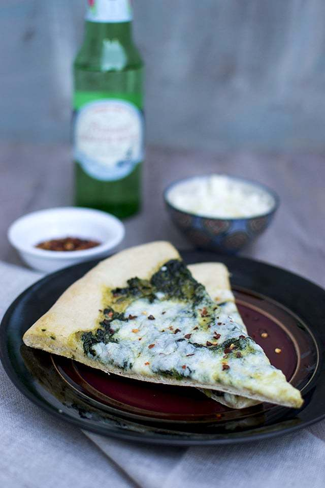 Saag Pizza on Instant Pizza Crust Recipe | HeyFood — heyfoodapp.com