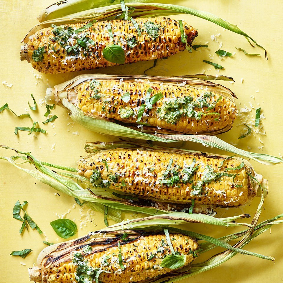 Grilled Corn on the Cob with Pesto Butter Recipe | HeyFood — heyfoodapp.com