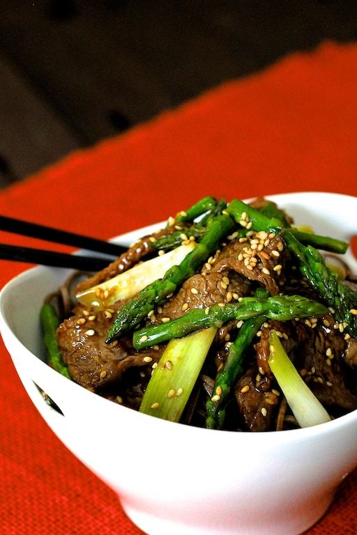 Sesame Beef and Asparagus Stir-Fry Recipe | HeyFood — heyfoodapp.com