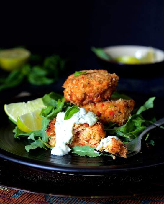 Thai Salmon Cakes with Basil Lime Mayonnaise Recipe | HeyFood — heyfoodapp.com
