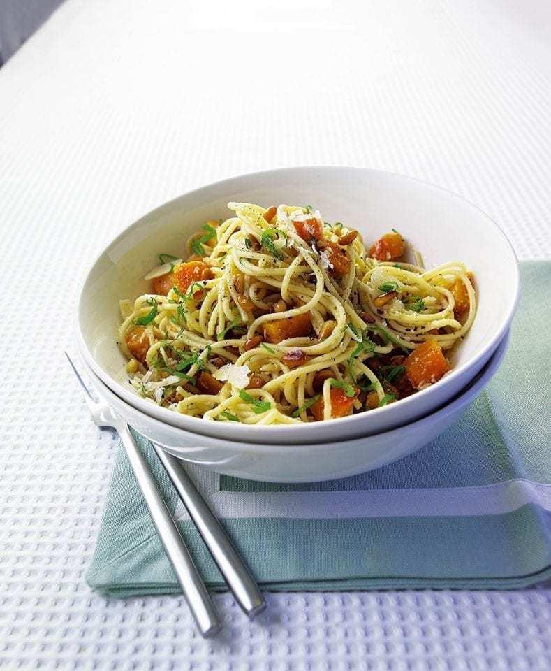 Butternut Squash, Parmesan And Pine Nut Spaghetti Recipe | HeyFood — heyfoodapp.com