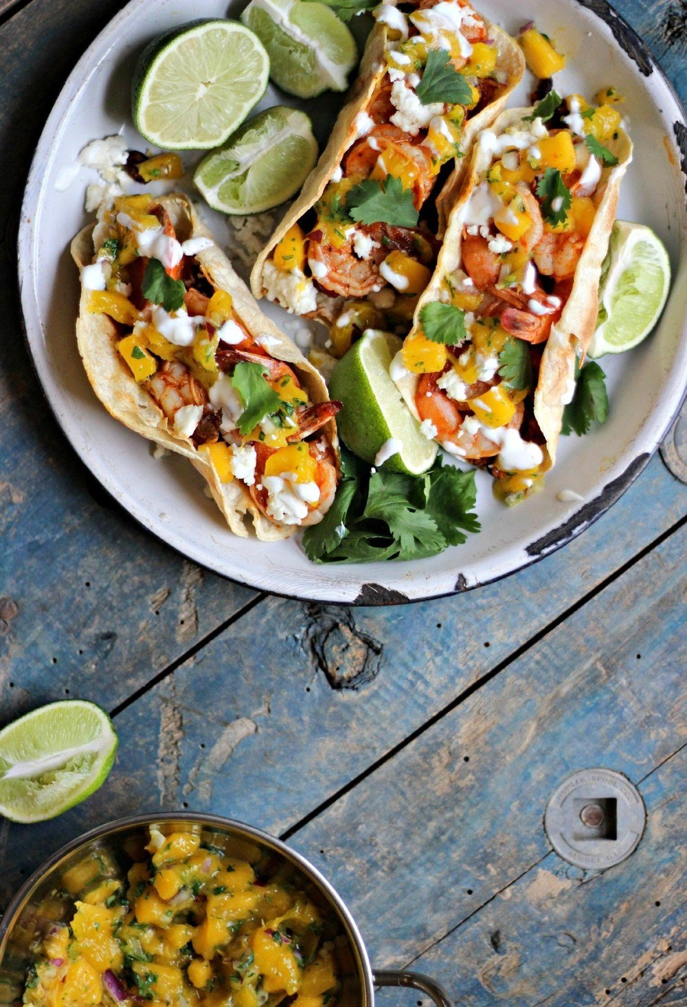 Smokey Shrimp Tacos with Chorizo Beans & Mango Salsa Recipe | HeyFood — heyfoodapp.com