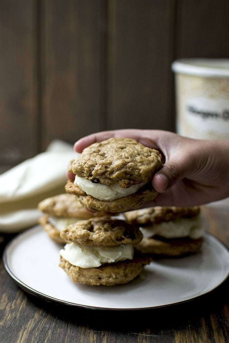 Oatmeal Raisin Ice Cream Sandwich Recipe | HeyFood — heyfoodapp.com