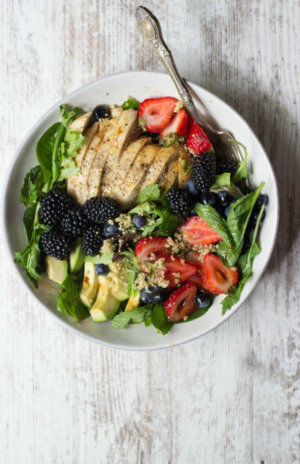 Berry Chicken Salad with Honey Balsamic Vinaigrette Recipe | HeyFood — heyfoodapp.com