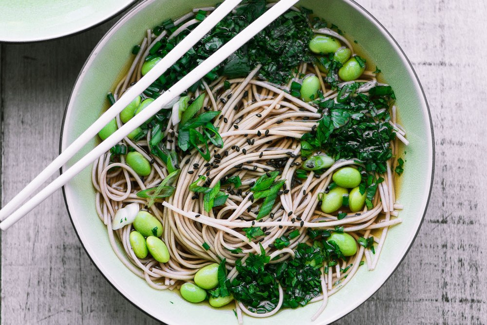 Easy Bone Broth Noodle Bowl with Herbs Recipe | HeyFood — heyfoodapp.com