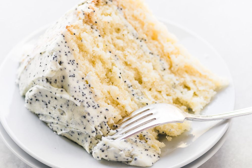 Lemon Layer Cake with Lemon Poppy Seed Buttercream Recipe | HeyFood — heyfoodapp.com