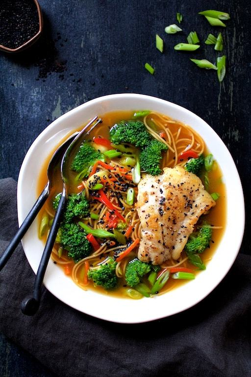 Asian Vegetable and Noodle Broth Bowls with Pan Seared Fish Recipe | HeyFood — heyfoodapp.com