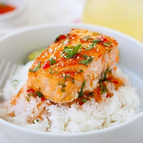 Sweet Chili Salmon Recipe Recipe | HeyFood — heyfoodapp.com