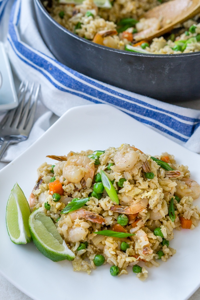 Shrimp Fried Brown Rice Recipe | HeyFood — heyfoodapp.com
