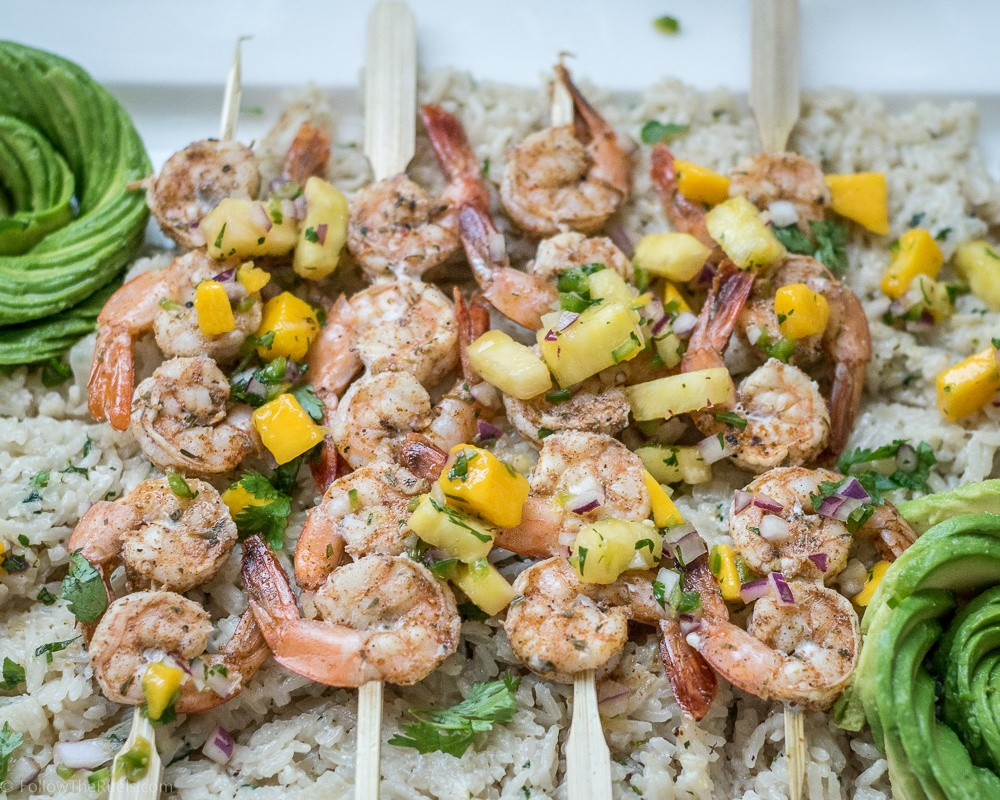 Jamaican Jerk Shrimp with Pineapple Mango Salsa Recipe | HeyFood — heyfoodapp.com