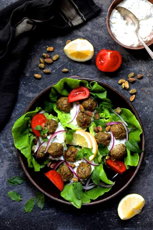 Turkish Turkey Meatball Lettuce Wraps With Tzatziki Recipe | HeyFood — heyfoodapp.com