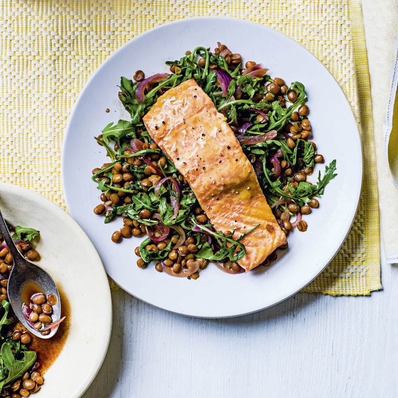 Mustard Glazed Salmon With Lentils Recipe | HeyFood — heyfoodapp.com