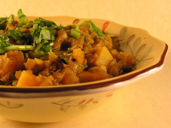 Pumpkin & Whole Masoor dal Sprouts Stew Recipe | HeyFood — heyfoodapp.com