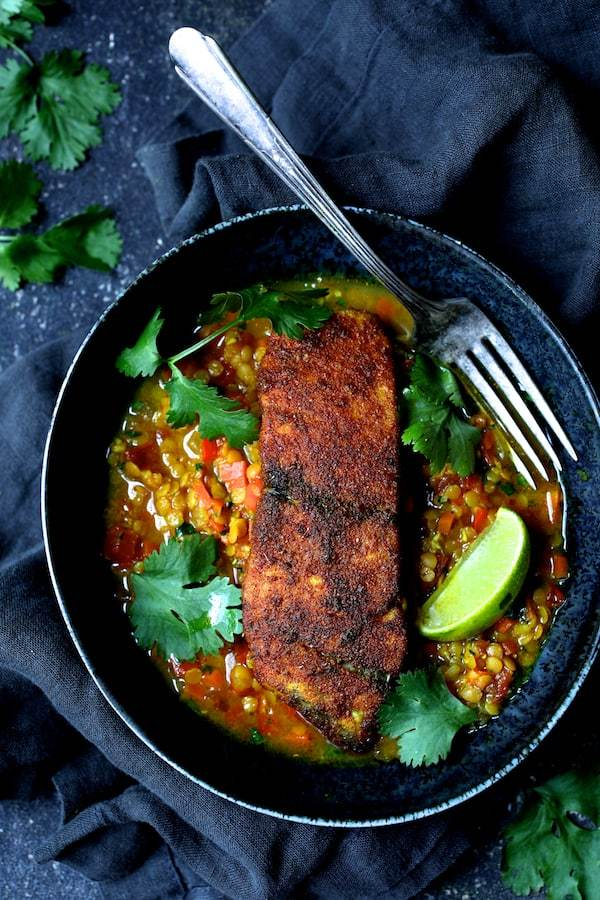 Indian Spiced Sea Bass with Braised Red Lentils Recipe | HeyFood — heyfoodapp.com