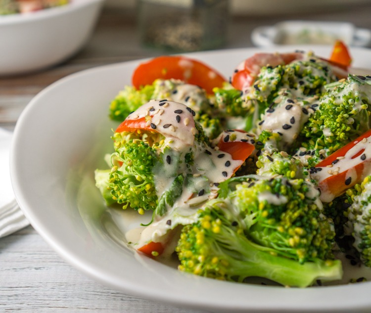 Steamed Veggies for Two with a Greek Yogurt Tahini Sauce Recipe | HeyFood — heyfoodapp.com
