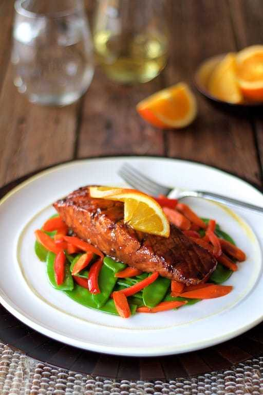 Pomegranate and Orange-Glazed Salmon with Stir-Fried Vegetables Recipe | HeyFood — heyfoodapp.com
