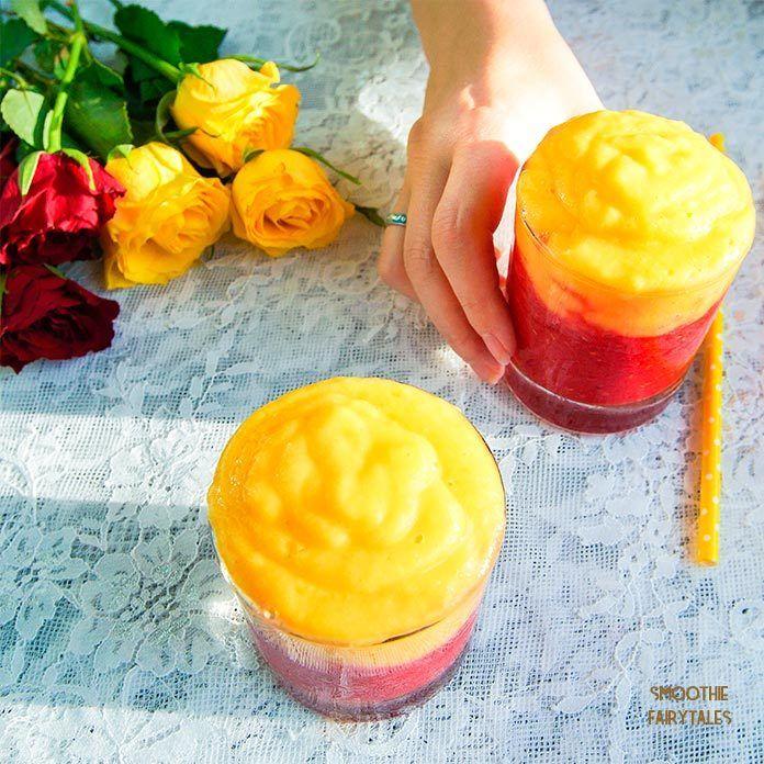 Mango Raspberry Sunrise Smoothie Recipe | HeyFood — heyfoodapp.com
