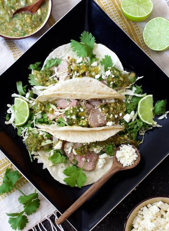 Cumin Lime Roast Pork Tacos with Salsa Verde Recipe | HeyFood — heyfoodapp.com
