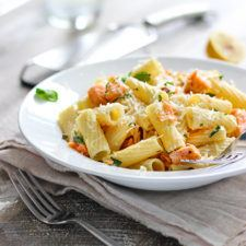 Light Lemon Garlic Pasta with Salmon Recipe | HeyFood — heyfoodapp.com