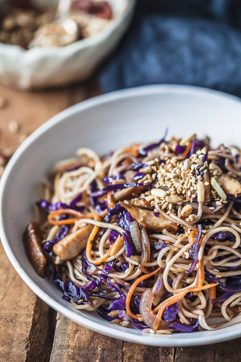 15-minute Purple Cabbage Chicken Lo Mein Recipe | HeyFood — heyfoodapp.com