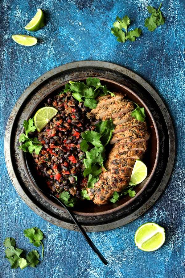 Cuban Style Mojo Marinated Pork Tenderloin with Black Beans Recipe | HeyFood — heyfoodapp.com