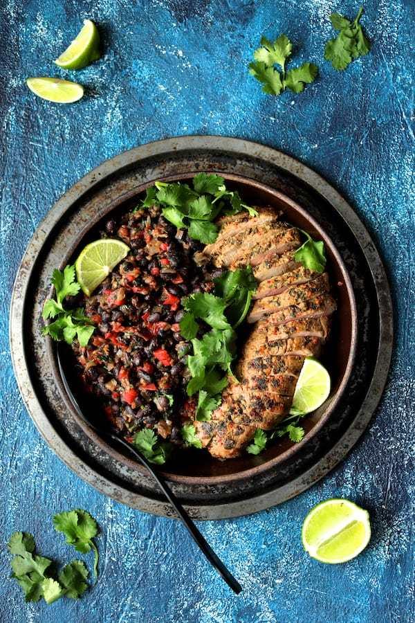Cuban Style Mojo Marinated Pork Tenderloin with Black Beans Recipe   HeyFood — heyfoodapp.com