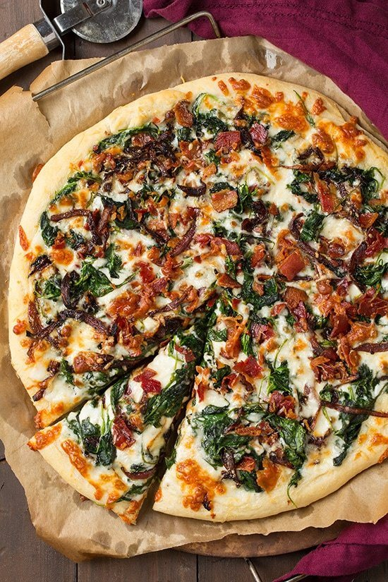 Caramlized Onion, Bacon And Spinach Pizza Recipe | HeyFood — heyfoodapp.com