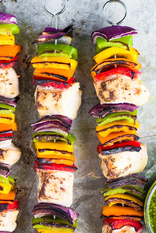 Rainbow Chicken Skewers with Spicy Pesto Sauce Recipe | HeyFood — heyfoodapp.com