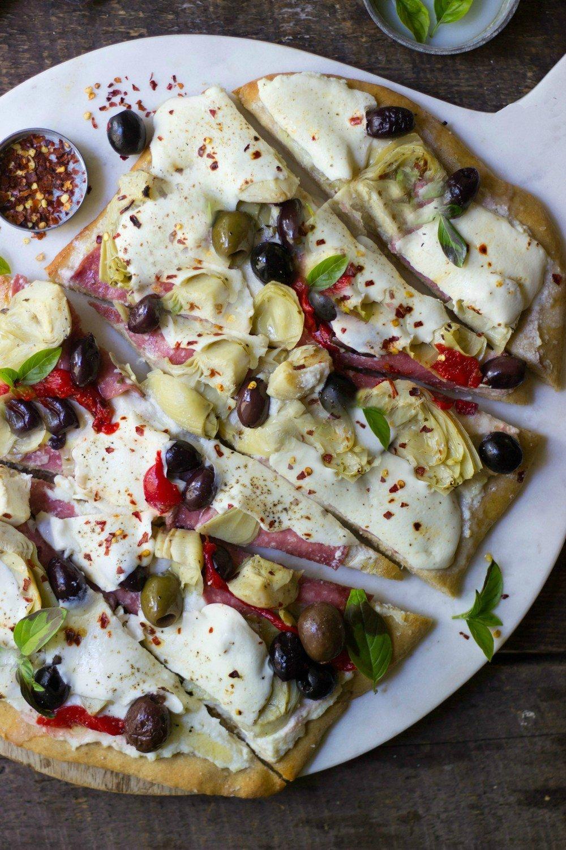 Antipasto Ricotta Flatbread Recipe | HeyFood — heyfoodapp.com