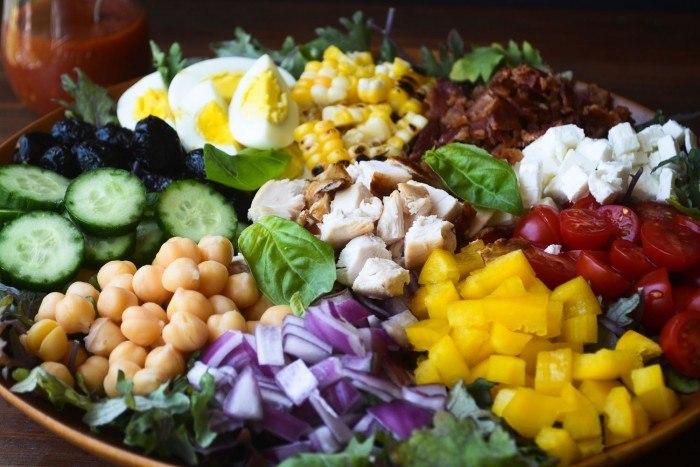 Chopped Salad with Spicy Tomato Vinaigrette Recipe | HeyFood — heyfoodapp.com