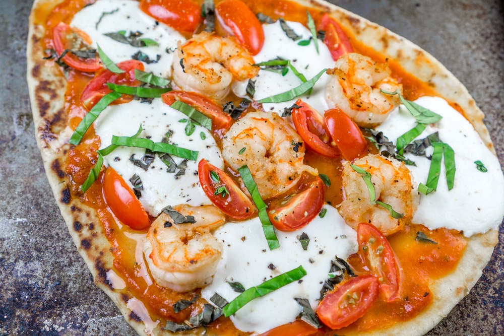 20 Minute Naan Shrimp Pizzas Recipe | HeyFood — heyfoodapp.com