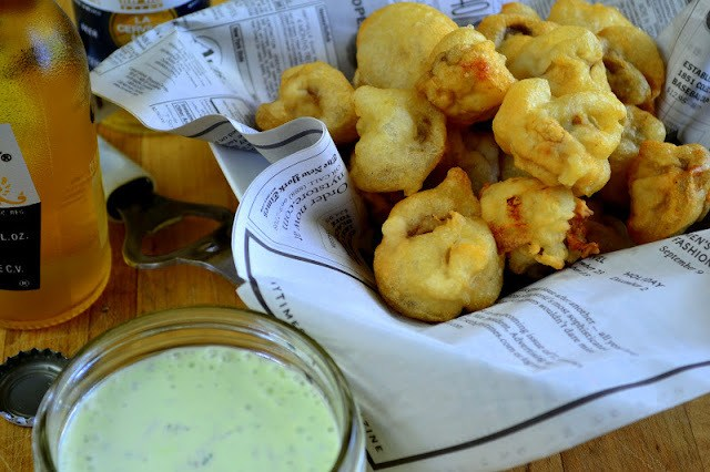 Beer Battered Mushrooms with Herbed Ranch Recipe | HeyFood — heyfoodapp.com