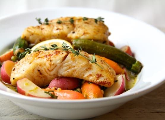 Butter Basted Halibut with Lemon Braised Baby Vegetables Recipe | HeyFood — heyfoodapp.com