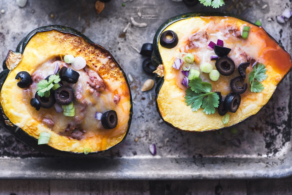 Chili Stuffed Acorn Squash Recipe | HeyFood — heyfoodapp.com