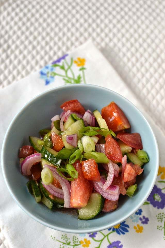 Russian Tomato & Cucumber Salad Recipe | HeyFood — heyfoodapp.com