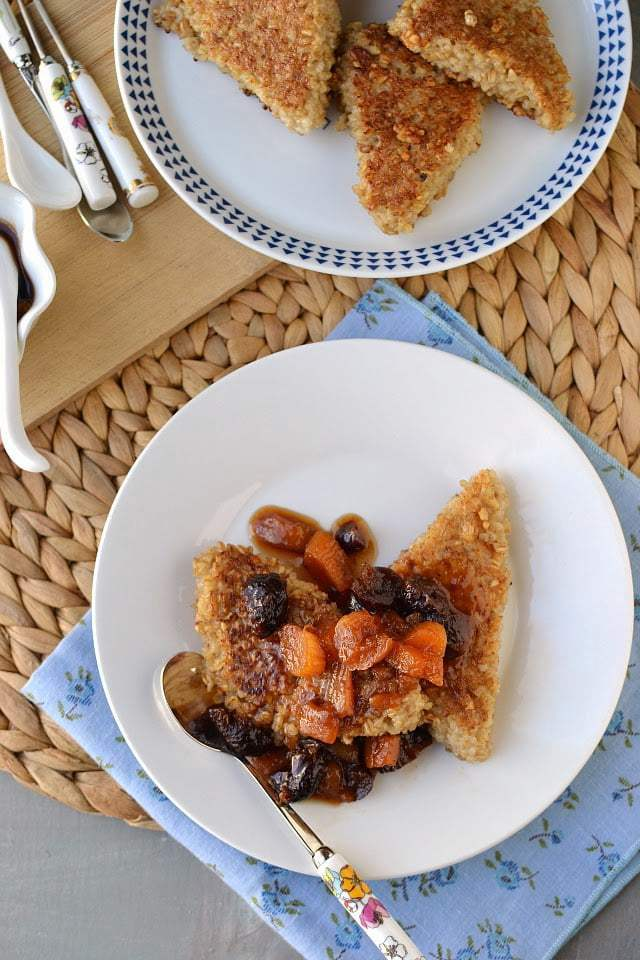 Pan Seared Oatmeal with Warm Fruit Compote Recipe | HeyFood — heyfoodapp.com
