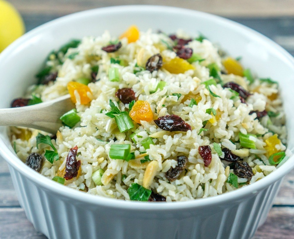 Brown Rice Salad with Nuts and Dried Fruit Recipe   HeyFood — heyfoodapp.com