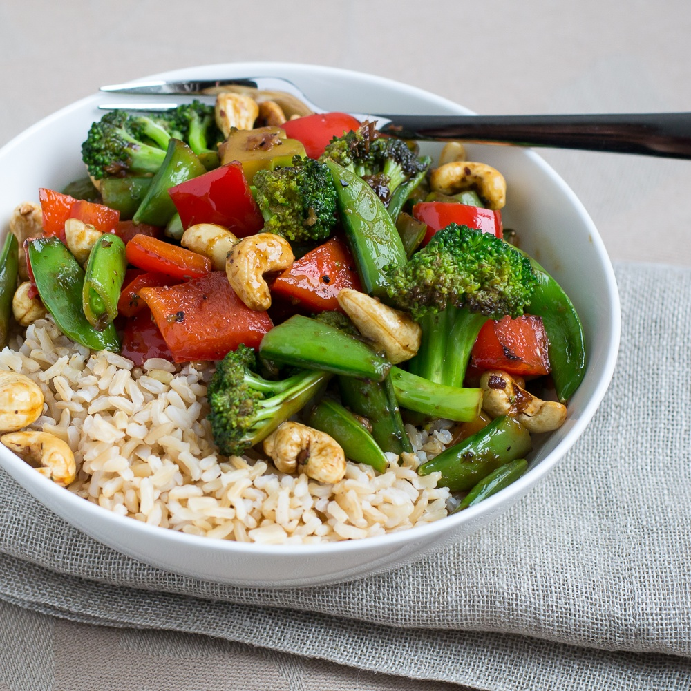Vegetable & Cashew Stir Fry With Basmati Rice Recipe | HeyFood — heyfoodapp.com