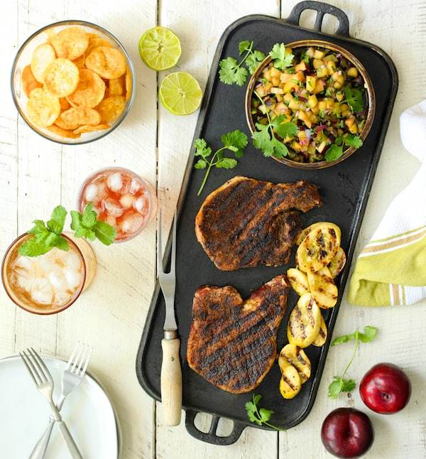 Southwestern Spiced Grilled Pork Chops with Plum Jalapeno Salsa Recipe | HeyFood — heyfoodapp.com