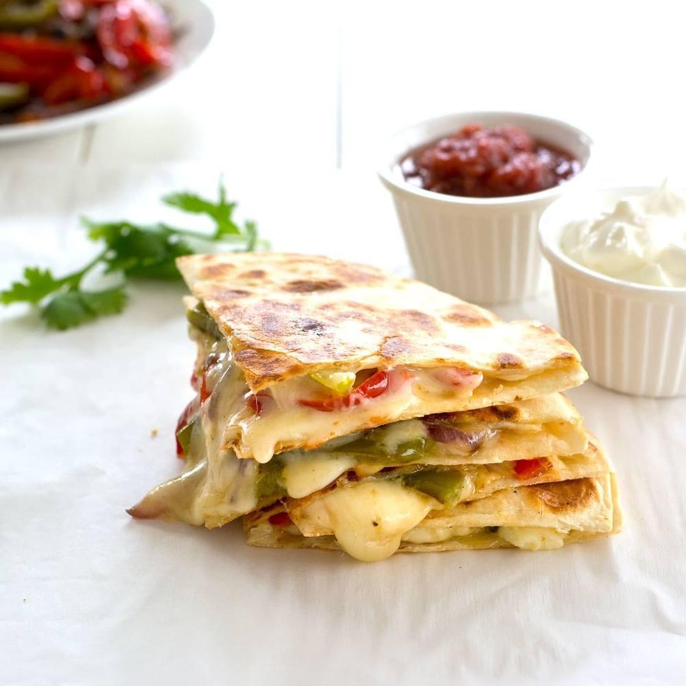 Veggie Fajita Quesadillas Recipe Recipe | HeyFood — heyfoodapp.com