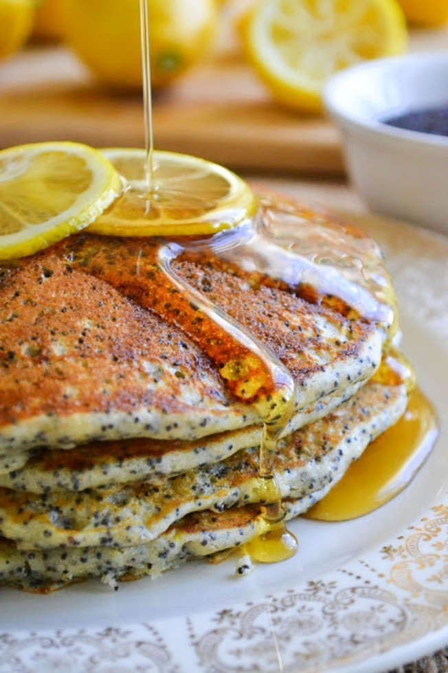 Lemon Poppy Seed Pancakes Recipe | HeyFood — heyfoodapp.com
