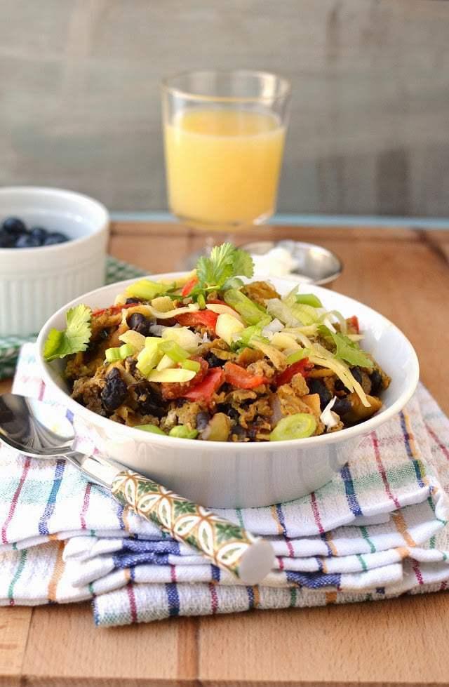 Migas with Black beans Recipe   HeyFood — heyfoodapp.com