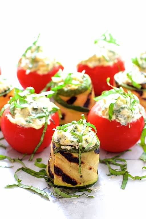 Cream Cheese and Artichoke Stuffed Tomatoes and Grilled Zucchini Recipe | HeyFood — heyfoodapp.com