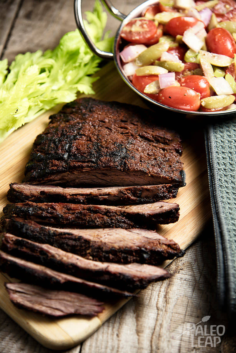 Flank Steak With Cherry Tomato Salad Recipe | HeyFood — heyfoodapp.com