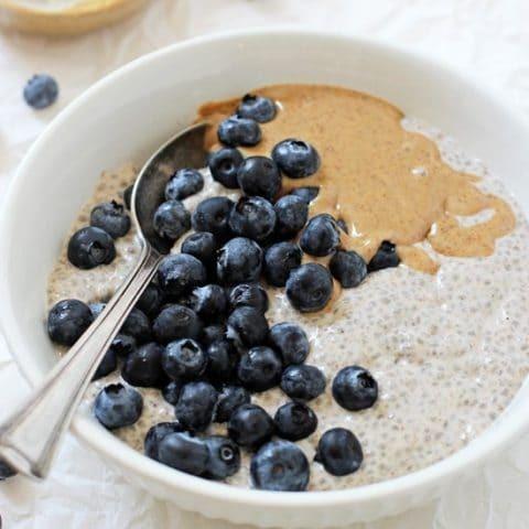 Blueberry Almond Butter Chia Pudding Recipe | HeyFood — heyfoodapp.com